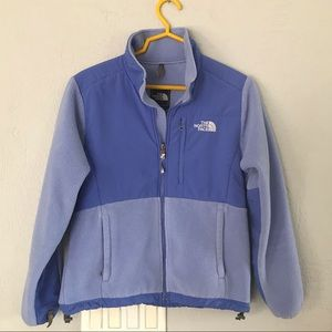 The North Face periwinkle colored jacket